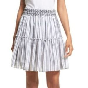 NWT Kate Spade Skirt Striped Smocked Waist Skirt L